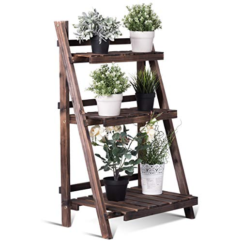 Giantex 3 Tier Folding Wooden Plant Stand with Pot Shelf Stand...