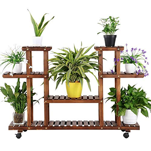 Yaheetech 4-Layer Wooden Flower Stands Rolling Flower Plant...