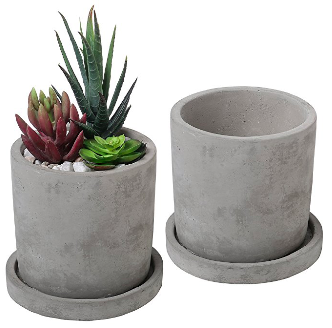 unglazed cement planter