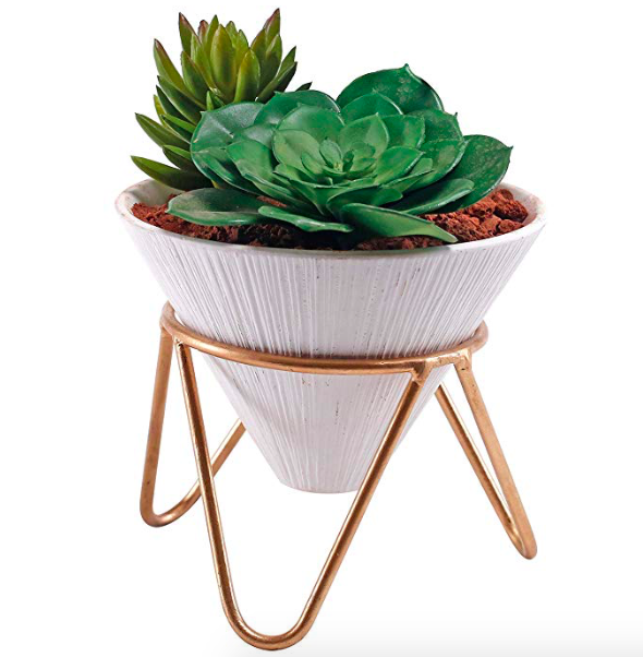 ceramic cone shaped planter with brass stand