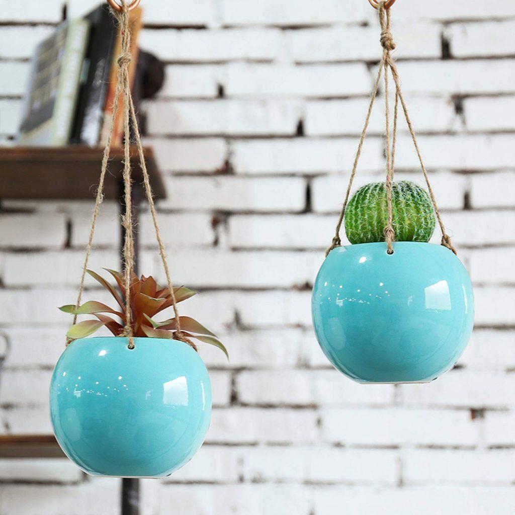 Aqua blue hanging succulent planters