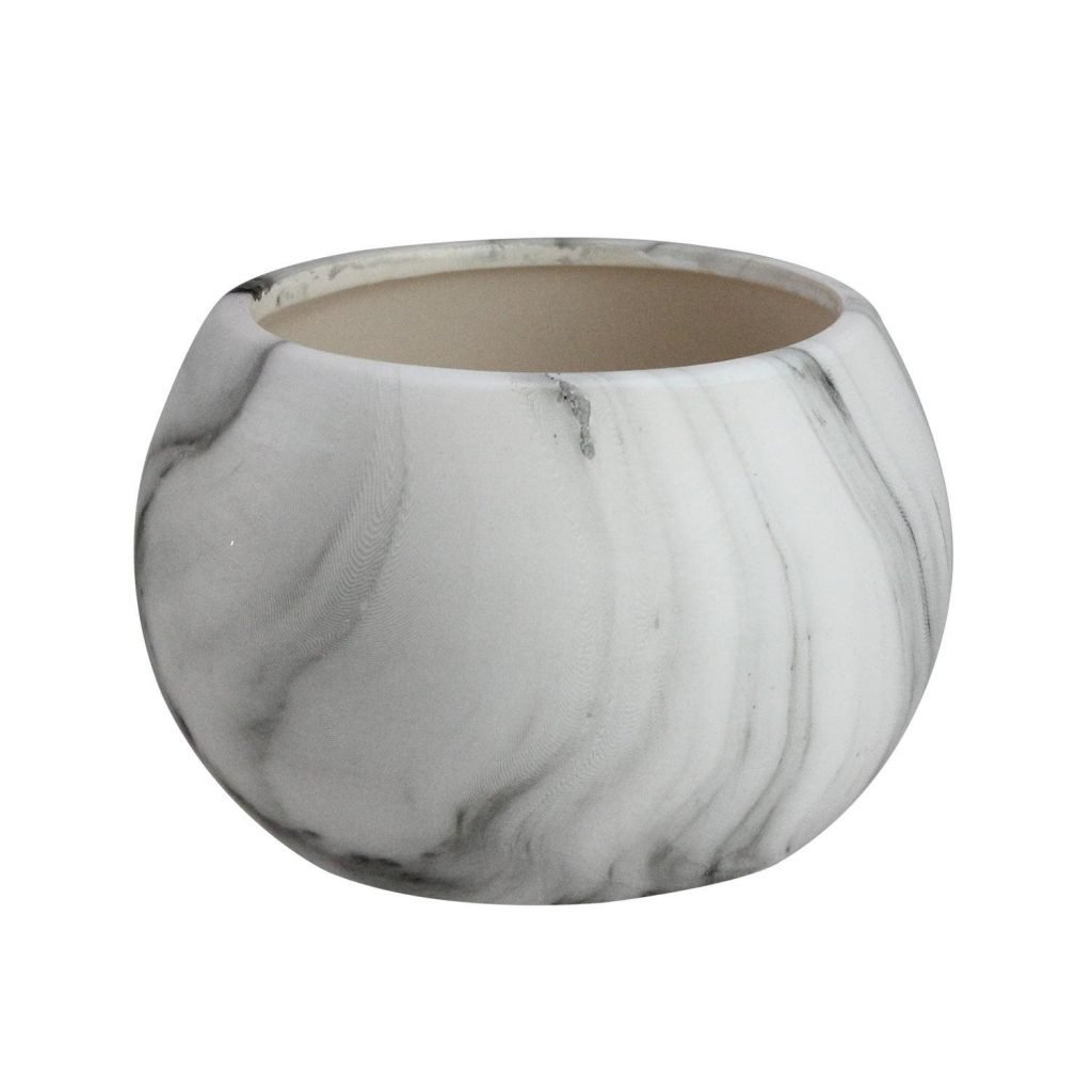Ball shaped faux marble planter